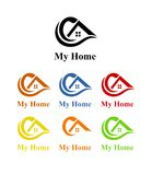 House design logo. Black green yellow blue orange brown red color colorful set family living room home house furniture estate architecture construction business Stock Photos