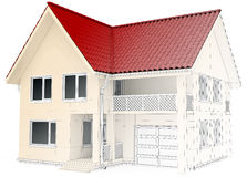House design wireframe, architectural drawing and. Visualization Vector Illustration