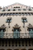 House designed by Gaudi with a long wrought iron balcony in Barcelona in Spain Stock Image