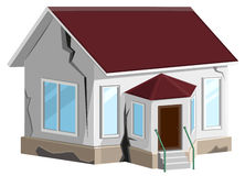 House destroyed. Cracks in walls of home. Property insurance. Errors construction. On white vector illustration stock illustration