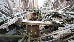 House destroyed by earthquake stock footage