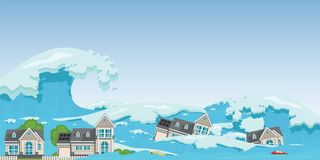 House destroyed by Tsunami waves royalty free illustration