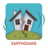 Earthquake natural disaster  icon house destruction. House destruction earthquake natural disaster  icon vector quake or tremor Earth surface shaking home stock illustration