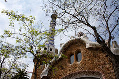 House detail at park Guell. Barcelona, Spain, April 2010, Colonnade at Park Guell. Park Guell is the urban park design from the famous architect Antonio Gaudi Stock Image