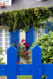 House detail view. Typical house in Brittany (France) behind its fence Stock Photos