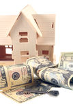 House, different dollar  and key Royalty Free Stock Photo
