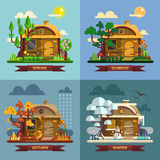 House in different times of the year. Four seasons. Concept, summer, fall, autumn, winter. Vector set in flat style design Stock Photo