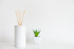 House diffuser and green plant Royalty Free Stock Photos