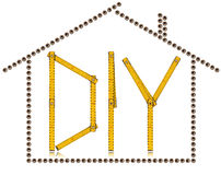 House and Diy Symbol - Screws and Ruler Stock Photo
