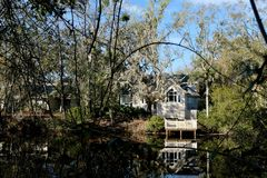 House With Dock in Low Country Stock Photography