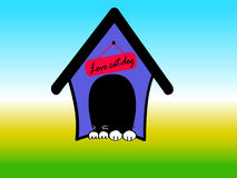 House dog logo. House dog-cat together taking a nap with love vector logo stock illustration