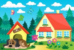 House with dog theme 1 Royalty Free Stock Image