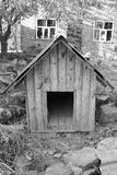 House for dogs. Black and white photo royalty free stock photos