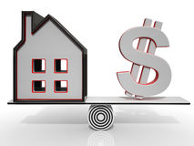 House And Dollar Balancing Show Investment Stock Photos