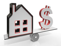 House And Dollar Balancing Showing Investment Stock Photos