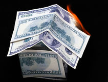 House of dollar bills. fire Royalty Free Stock Photo