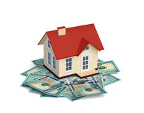 House with  dollar bills  on white Stock Images