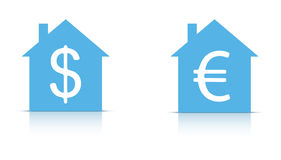 House with dollar and euro sign in  Stock Photo