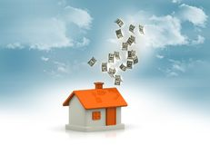 House with dollar notes. Real-estate concept Stock Image