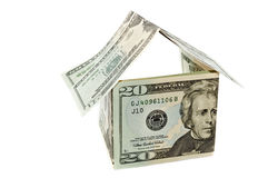 House from dollar notes isolated Royalty Free Stock Photos