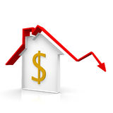 House and dollar. Outline house with a red arrow Stock Image