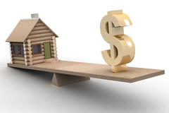 House and dollar on scales. Royalty Free Stock Photography