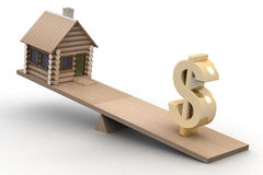 House and dollar on scales. Stock Image