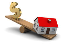 House and dollar seesaw Stock Photography
