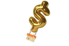 House with dollar sign balloons ,3D illustration. Royalty Free Stock Photography