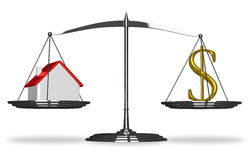 House and dollar sign on scales Royalty Free Stock Image