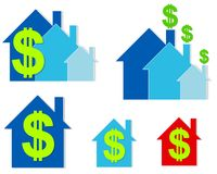 House Dollar Signs Clip Art 2. An illustration featuring an assortment of houses in blue and red with green dollar signs in various positions vector illustration