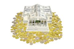 House of dollars and coins Royalty Free Stock Image