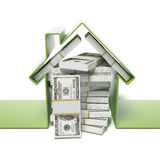 House with dollars Royalty Free Stock Images