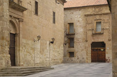 House of Don Diego Maldonado and Church of San Benito, Salamanca, Royalty Free Stock Images