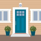 House door front with doorstep and mat, steps, window, lamp, flowers, building entry facade, exterior entrance design illustration. Vector in flat style royalty free illustration
