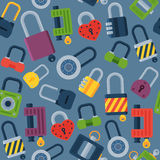House door-lock access equipment web safety conept padlock vector illustration. Royalty Free Stock Images
