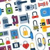 House door-lock access equipment web safety conept padlock vector illustration. Stock Photography