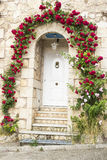 House door with roses Royalty Free Stock Image
