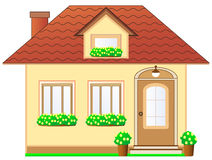 House with dormer and flower pot Royalty Free Stock Images
