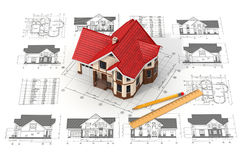 House on the drafts in different projections and blueprints. Stock Photography