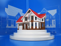 House on the drafts in different projections and blueprints. Royalty Free Stock Images
