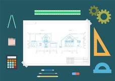 House drawing and drawing tools. The concept of design. Flat vector illustration royalty free illustration