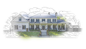 House Drawing and Ghosted Photo Combination on White Royalty Free Stock Images