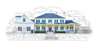 House Drawing and Photo Combination Isolated on White royalty free illustration