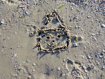 House drawing in the sand 1. Royalty Free Stock Image