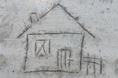House drawing on sand Royalty Free Stock Photo
