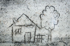 House drawing on sand Stock Photo