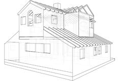 House drawing in vector. The contours of the house. Vector created of 3d Stock Photos