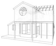 House drawing in vector. The contours of the house. Vector created of 3d Royalty Free Stock Image