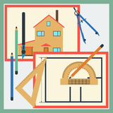 House drawing vector illustration Royalty Free Stock Photography
